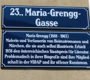 Plaque de la Maria-Gregg-gasse (Wien 23) - Photo JYR